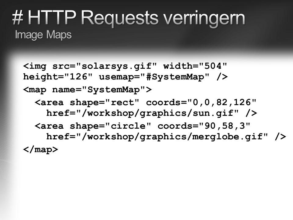 Gzip gegenüber deflate vorziehen Alle Texte (HTLM, XML, JS, CSS, JSON, …) komprimieren Bereits komprimierte Inhalte NICHT erneut komprimieren (png, jpg, …) Erzeugt Last auf Server und Client HTTP Request Accept-Encoding: gzip, deflate HTTP Request Accept-Encoding: gzip, deflate HTTP Response Content-Encoding: gzip HTTP Response Content-Encoding: gzip