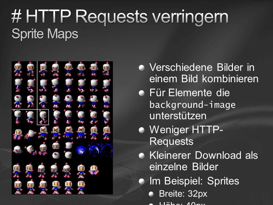 Verschiedene Bilder in einem Bild kombinieren Für Elemente die background-image unterstützen Weniger HTTP- Requests Kleinerer Download als einzelne Bilder Im Beispiel: Sprites Breite: 32px Höhe: 40px
