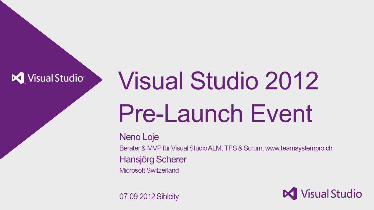 Agenda 08:45 – 09:15 Check-In 09:15 – 09:30 Begrüssung und Einführung 09:30 – 10:30 Storyboarding und agile Projektplanung 10:30 – 10:45 Pause 10:45 – 12:00 Build und Test mit TFS / Microsoft Test Manager 2012 12:00 – 13:00 Mittagessen 13:00 – 13:15 Umsteigen/Updaten auf den Team Foundation Server 2012 13:15 – 13:45 Neuerungen im Visual Studio 2012 13:45 – 14:30 Team Explorer 2012 14:30 – 14:45 Pause 14:45 – 15:30 (Unit-) Testing mit Visual Studio 2012 15:30 – 16:00 Zusammenarbeit mit dem IT-Betrieb 16:00 – 17:00 Apéro