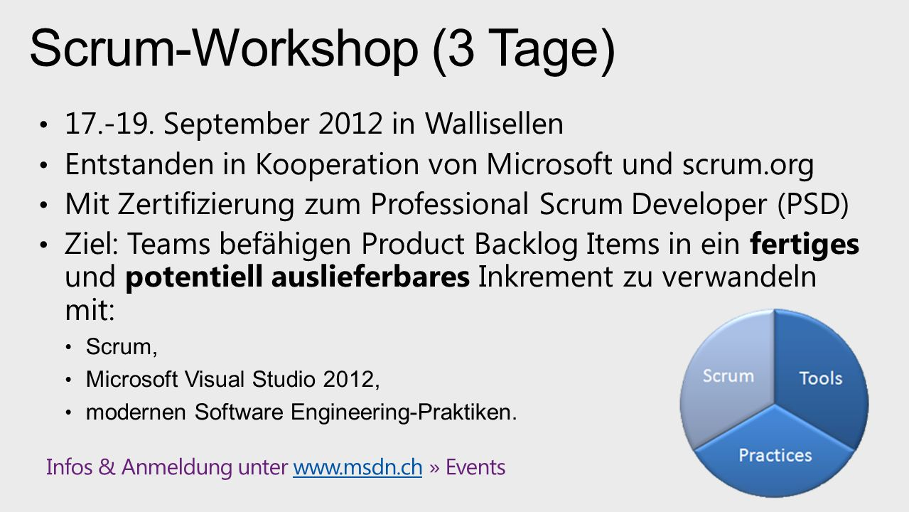 Scrum-Workshop (3 Tage) 17.-19.