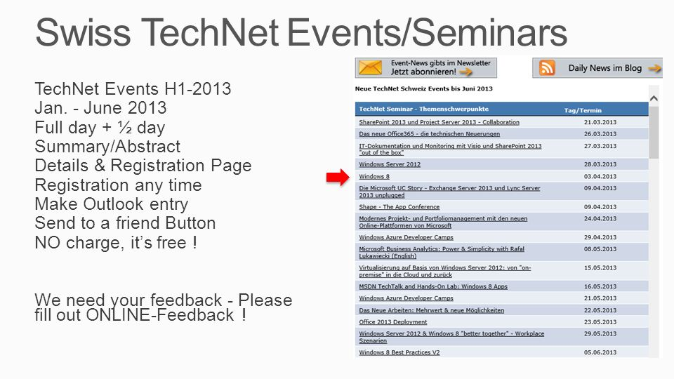 Swiss TechNet Events/Seminars TechNet Events H Jan.