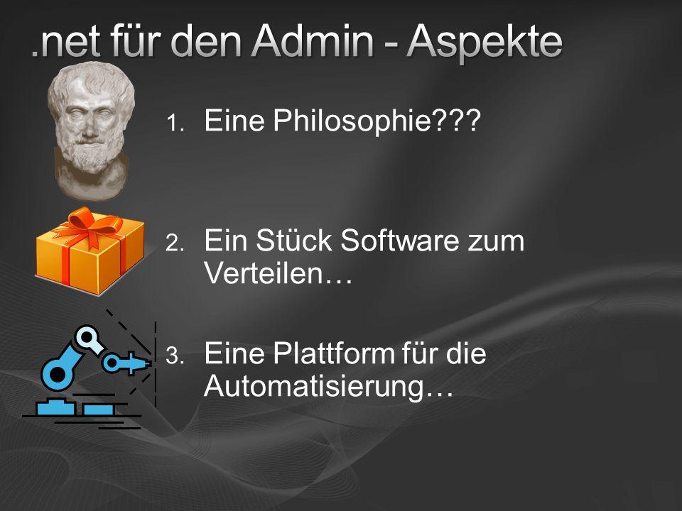 1. Eine Philosophie . 2. Ein Stück Software zum Verteilen… 3.