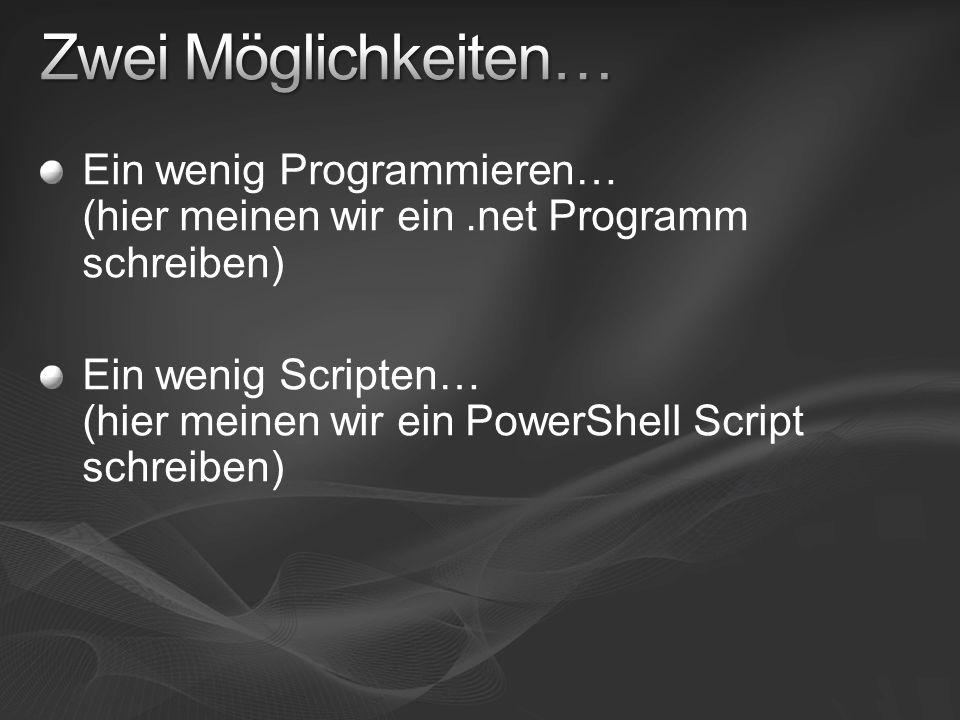 Ein wenig Programmieren… (hier meinen wir ein.net Programm schreiben) Ein wenig Scripten… (hier meinen wir ein PowerShell Script schreiben)