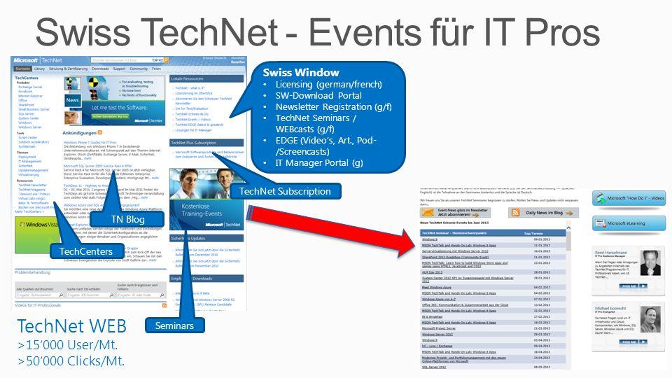 Swiss TechNet - Events für IT Pros 3 TechNet WEB >15000 User/Mt. >50000 Clicks/Mt. TechCenters Seminars Swiss Window Licensing (german/french) SW-Down