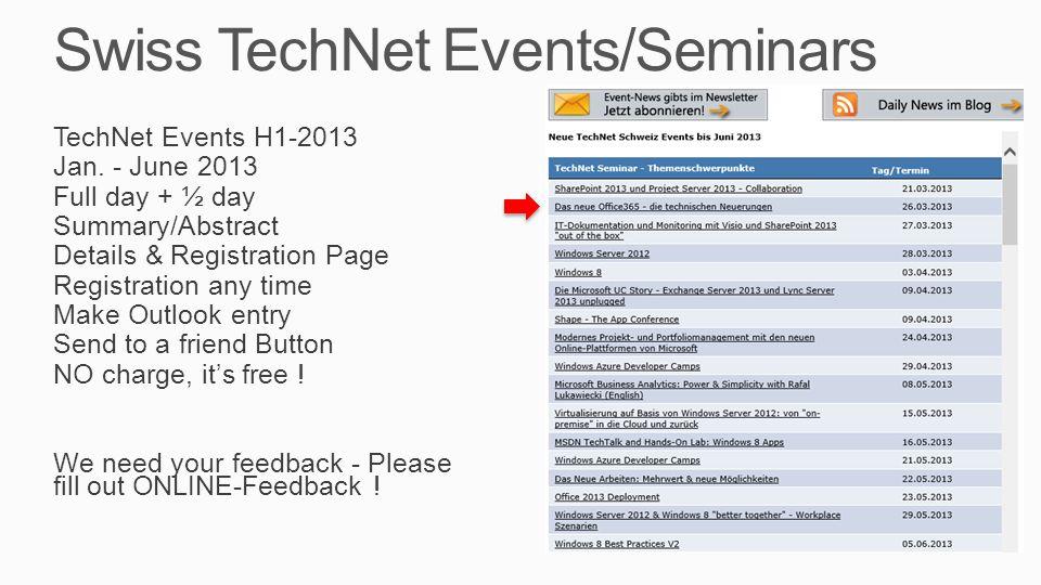 Todays TechNet Seminar Diverses David Morf, Office 365 TSP Pascal Comini, Office 365 TSP Chhaou-Long Huong, PM Office 365 Handys, Notis bitte aus Bitte Zeiten einhalten, Danke Pausen, WC, Lunch (Platz) Klima, Rauchen Handouts per Email Kontaktform auf Papier Feedback: Web via Email, bitte auch im freien Kommentar schreiben Agenda 09.00 – 10.15 Session 1 10.15 – 10.45 Pause (30) 10.45 – 12.00 Session 2 12.00 – 13.00 Lunch (60) 13.00 – 14.15 Session 3 14.15 – 14.45 Pause (max.