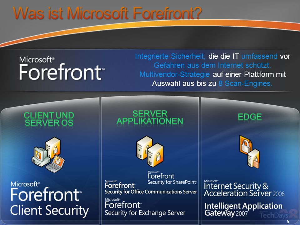 Guidance Developer Tools Systems Management Active Directory Federation Services (ADFS) Identity Management Services Information Protection Encrypting File System (EFS) BitLocker Network Access Protection (NAP) Client und Server OS Server Applications Edge