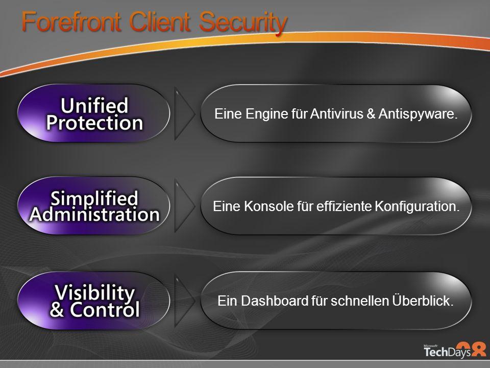 Eine Engine für Antivirus & Antispyware. Eine Konsole für effiziente Konfiguration.