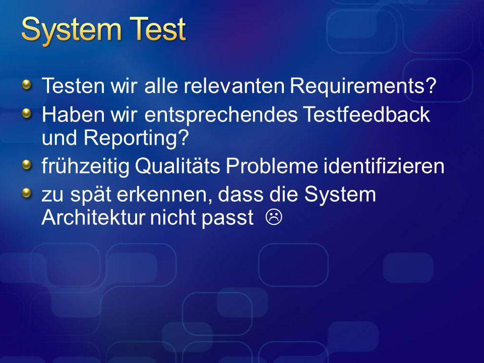 Testen wir alle relevanten Requirements? Haben wir entsprechendes Testfeedback und Reporting? frühzeitig Qualitäts Probleme identifizieren zu spät erk