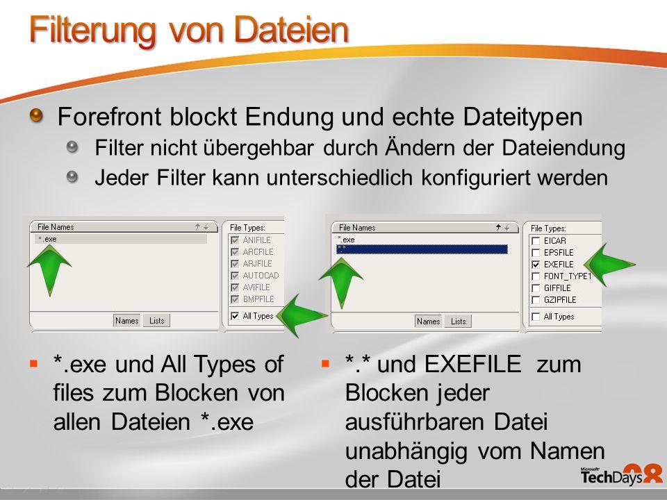 *.exe und All Types of files zum Blocken von allen Dateien *.exe *.* und EXEFILE zum Blocken jeder ausführbaren Datei unabhängig vom Namen der Datei F