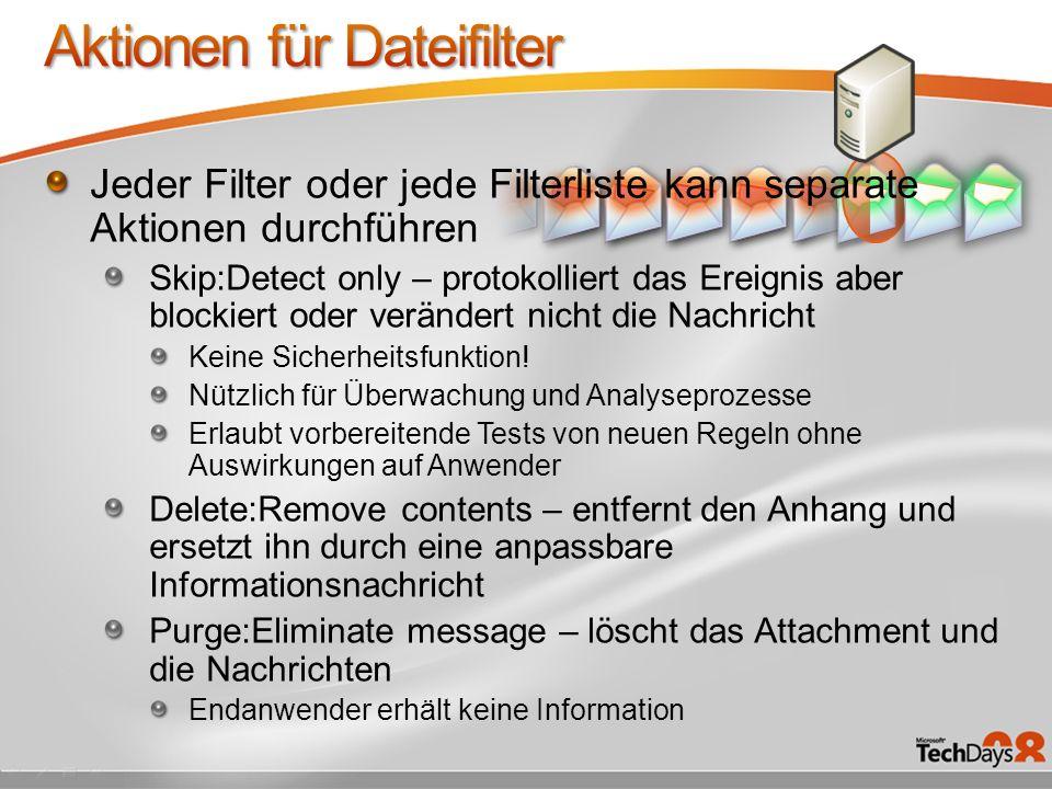 Jeder Filter oder jede Filterliste kann separate Aktionen durchführen Skip:Detect only – protokolliert das Ereignis aber blockiert oder verändert nich