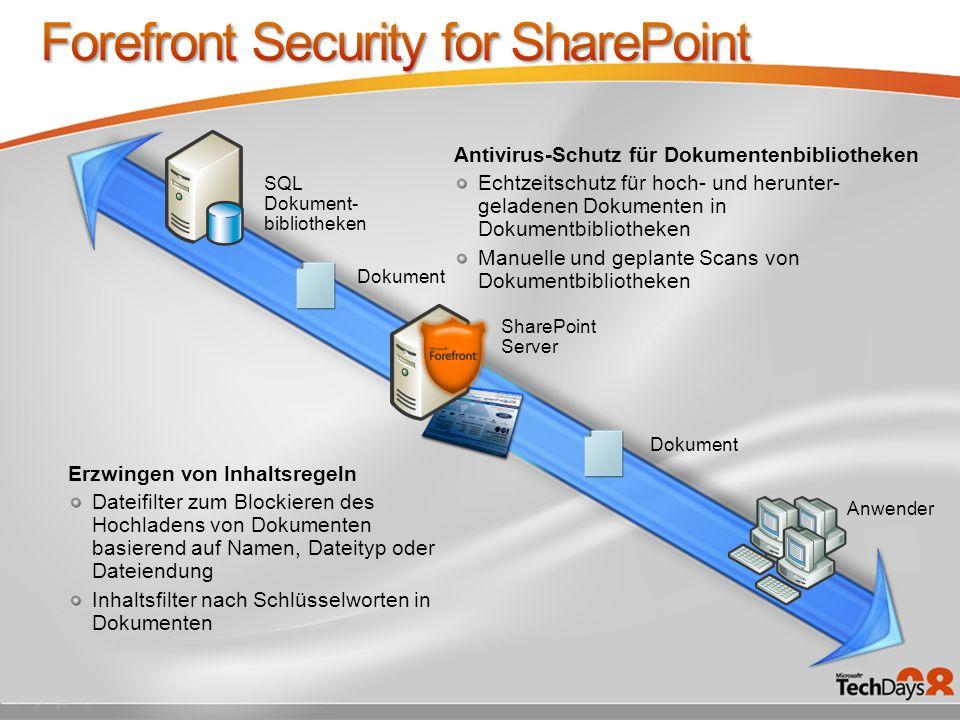 SQL Dokument- bibliotheken Dokument Anwender Dokument SharePoint Server Antivirus-Schutz für Dokumentenbibliotheken Echtzeitschutz für hoch- und herun