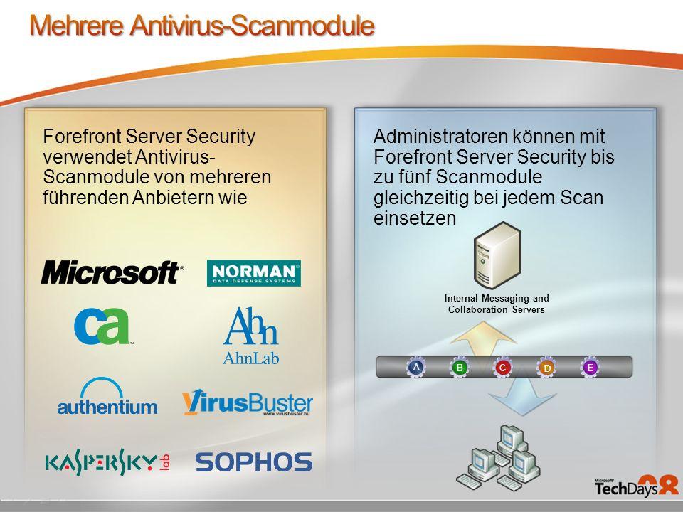 Forefront Server Security verwendet Antivirus- Scanmodule von mehreren führenden Anbietern wie Administratoren können mit Forefront Server Security bi