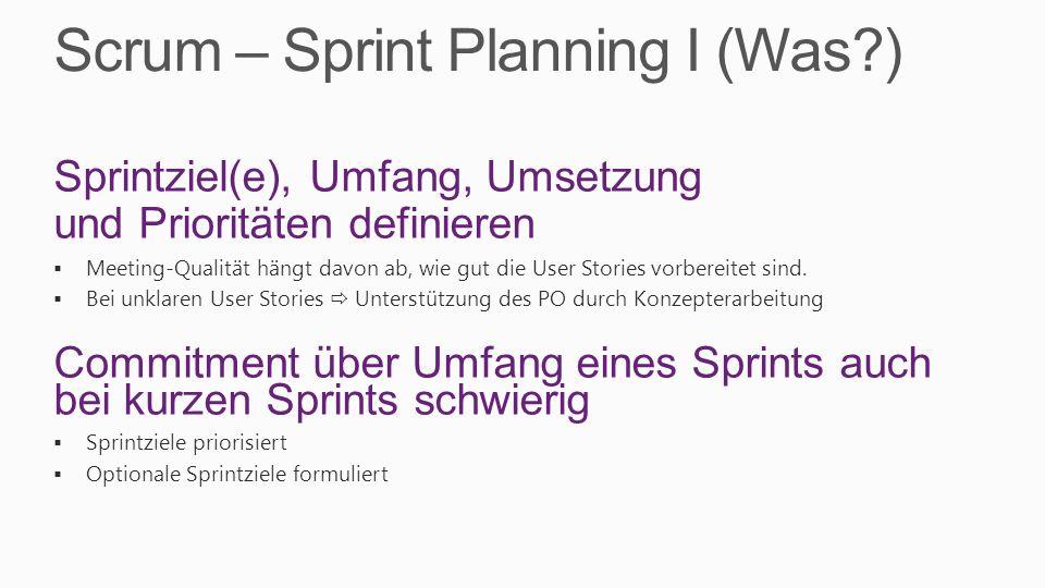 Scrum – Sprint Planning I (Was?) Sprintziel(e), Umfang, Umsetzung und Prioritäten definieren Meeting-Qualität hängt davon ab, wie gut die User Stories vorbereitet sind.
