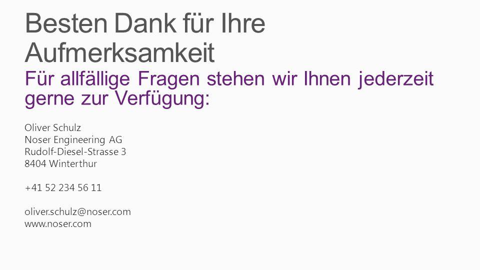 Besten Dank für Ihre Aufmerksamkeit Für allfällige Fragen stehen wir Ihnen jederzeit gerne zur Verfügung: Oliver Schulz Noser Engineering AG Rudolf-Diesel-Strasse 3 8404 Winterthur +41 52 234 56 11 oliver.schulz@noser.com www.noser.com