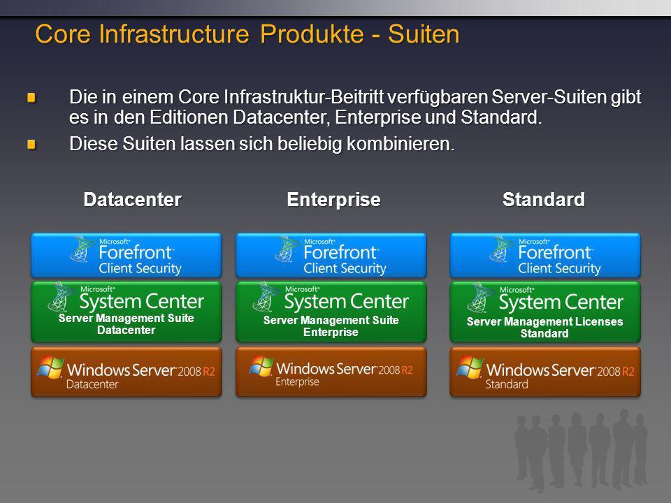 Die in einem Core Infrastruktur-Beitritt verfügbaren Server-Suiten gibt es in den Editionen Datacenter, Enterprise und Standard.