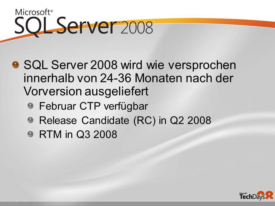SQL Server 2008 wird wie versprochen innerhalb von 24-36 Monaten nach der Vorversion ausgeliefert Februar CTP verfügbar Release Candidate (RC) in Q2 2008 RTM in Q3 2008