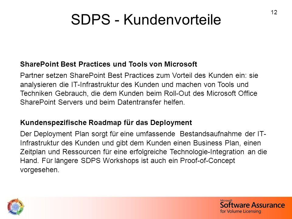 12 SDPS - Kundenvorteile SharePoint Best Practices und Tools von Microsoft Partner setzen SharePoint Best Practices zum Vorteil des Kunden ein: sie an