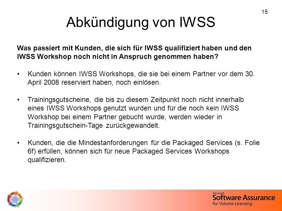15 Abkündigung von IWSS Was passiert mit Kunden, die sich für IWSS qualifiziert haben und den IWSS Workshop noch nicht in Anspruch genommen haben? Kun