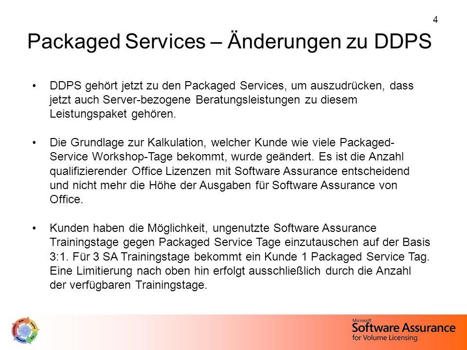 4 DDPS gehört jetzt zu den Packaged Services, um auszudrücken, dass jetzt auch Server-bezogene Beratungsleistungen zu diesem Leistungspaket gehören. D
