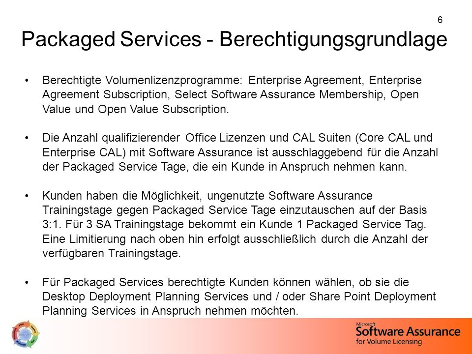 6 Berechtigte Volumenlizenzprogramme: Enterprise Agreement, Enterprise Agreement Subscription, Select Software Assurance Membership, Open Value und Open Value Subscription.