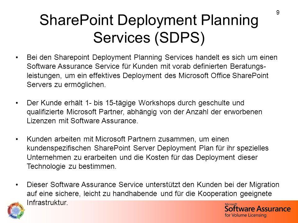 9 SharePoint Deployment Planning Services (SDPS) Bei den Sharepoint Deployment Planning Services handelt es sich um einen Software Assurance Service f