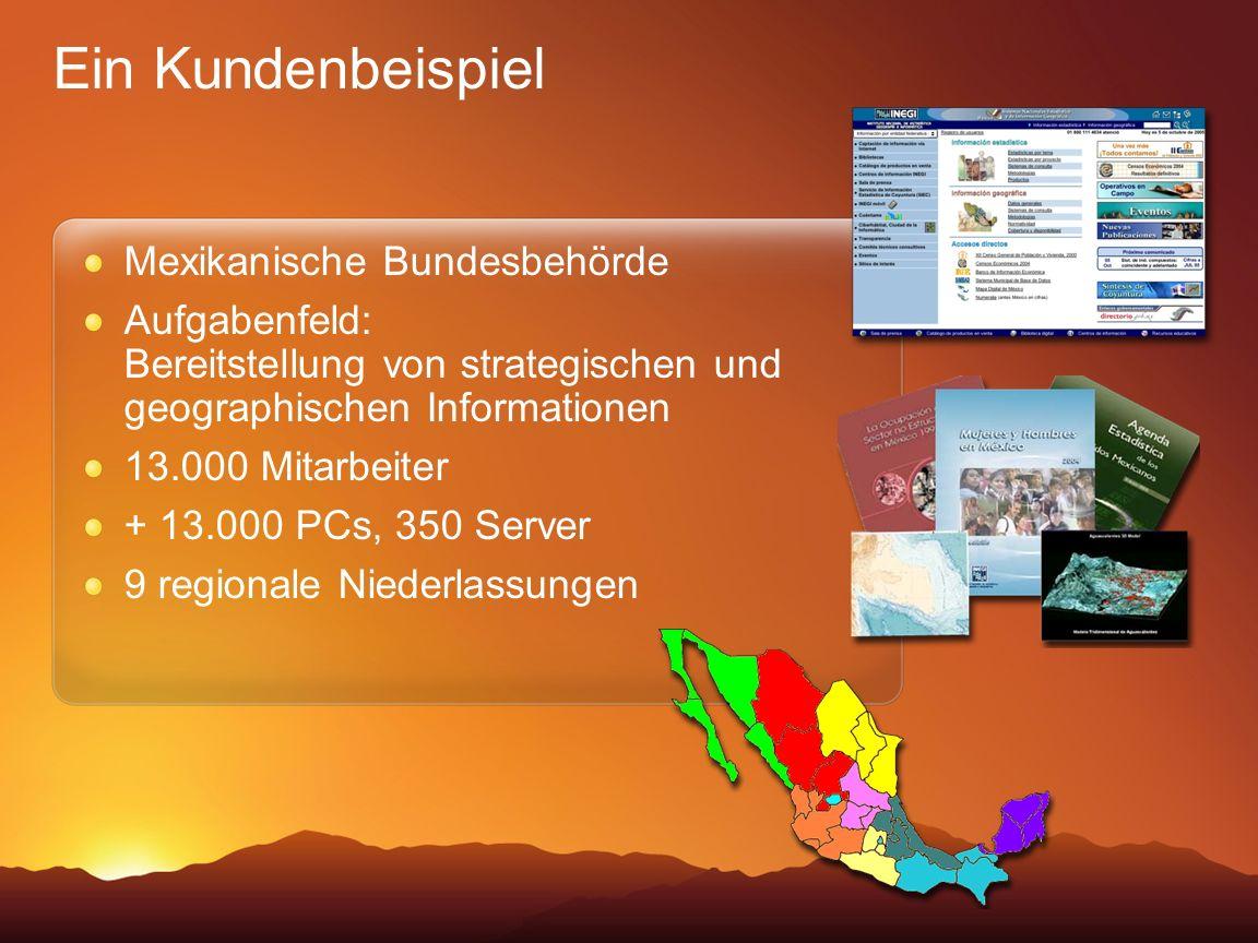 Ein Kundenbeispiel Mexikanische Bundesbehörde Aufgabenfeld: Bereitstellung von strategischen und geographischen Informationen 13.000 Mitarbeiter + 13.