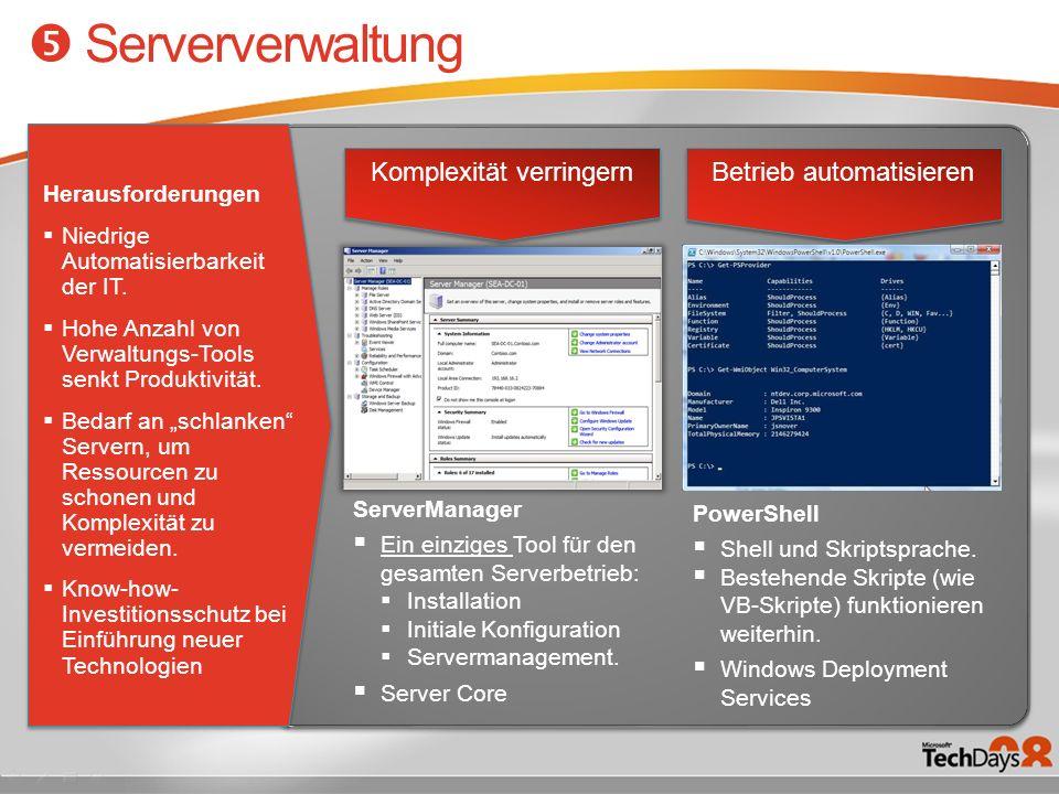 Komplexität verringern Betrieb automatisieren ServerManager Ein einziges Tool für den gesamten Serverbetrieb: Installation Initiale Konfiguration Serv