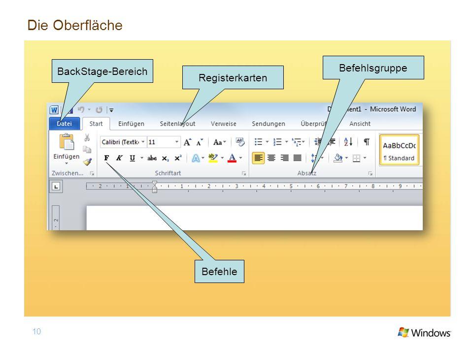 10 BackStage-Bereich Registerkarten Befehlsgruppe Befehle Die Oberfläche
