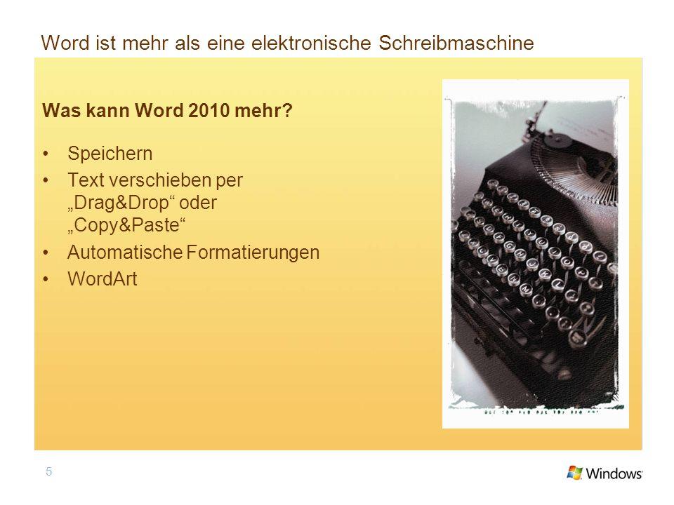Word ist mehr als eine elektronische Schreibmaschine Was kann Word 2010 mehr? Speichern Text verschieben per Drag&Drop oder Copy&Paste Automatische Fo