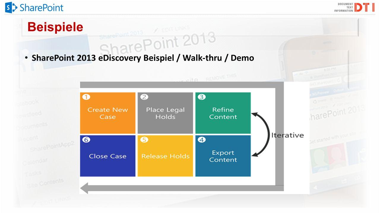 Beispiele SharePoint 2013 eDiscovery Beispiel / Walk-thru / Demo