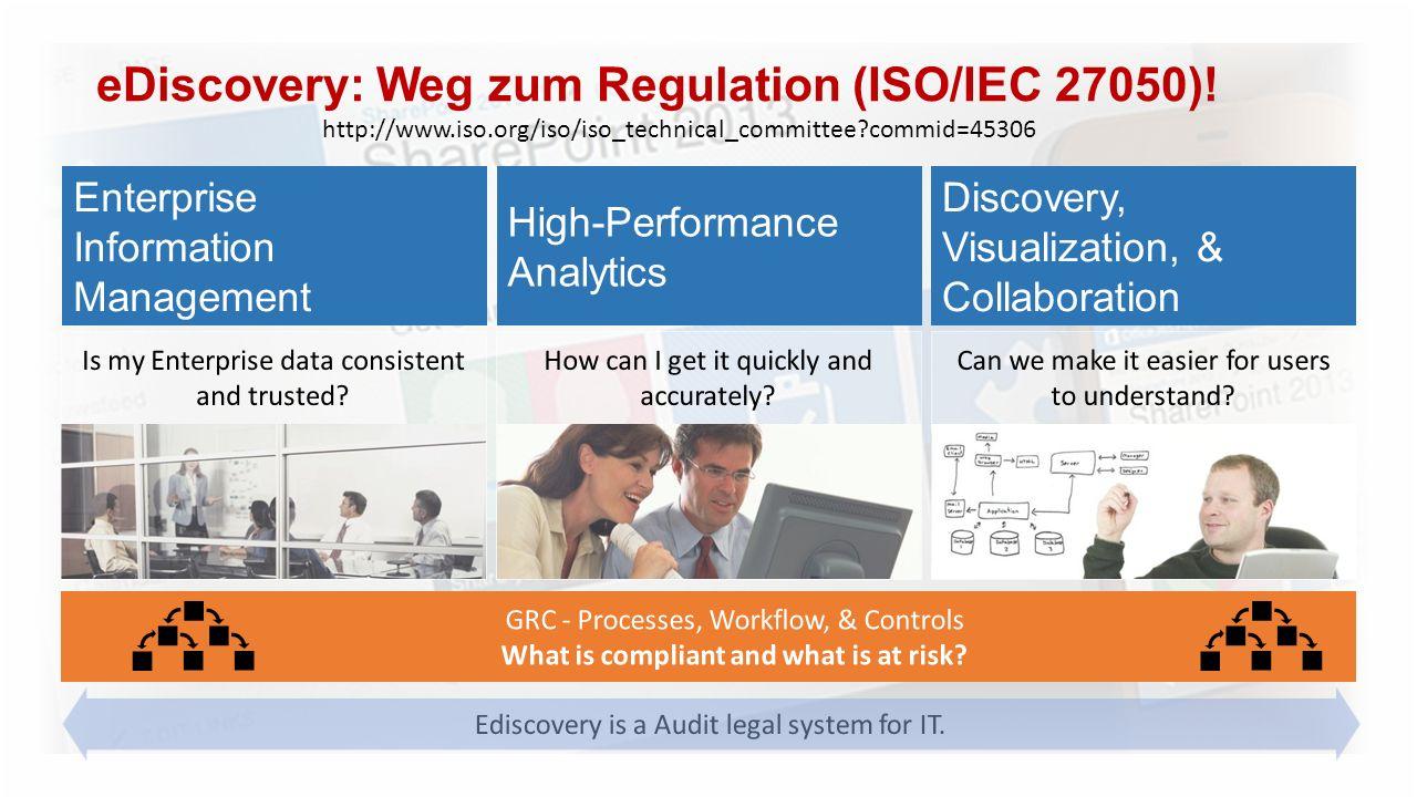 eDiscovery: Weg zum Regulation (ISO/IEC 27050)! http://www.iso.org/iso/iso_technical_committee?commid=45306
