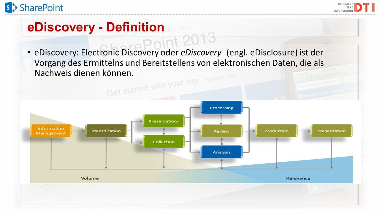 eDiscovery - Definition eDiscovery: Electronic Discovery oder eDiscovery (engl. eDisclosure) ist der Vorgang des Ermittelns und Bereitstellens von ele