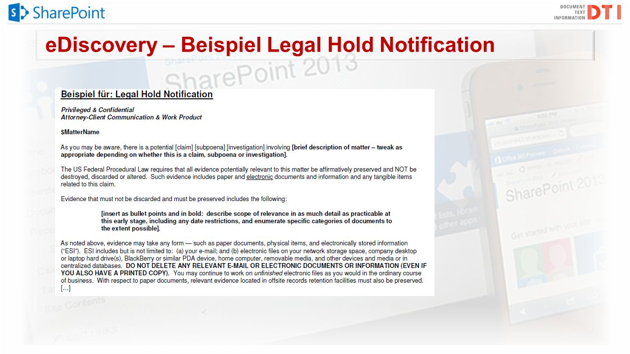 eDiscovery – Beispiel Legal Hold Notification