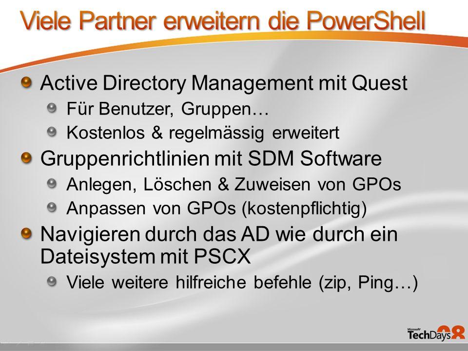 Active Directory Management mit Quest Für Benutzer, Gruppen… Kostenlos & regelmässig erweitert Gruppenrichtlinien mit SDM Software Anlegen, Löschen &