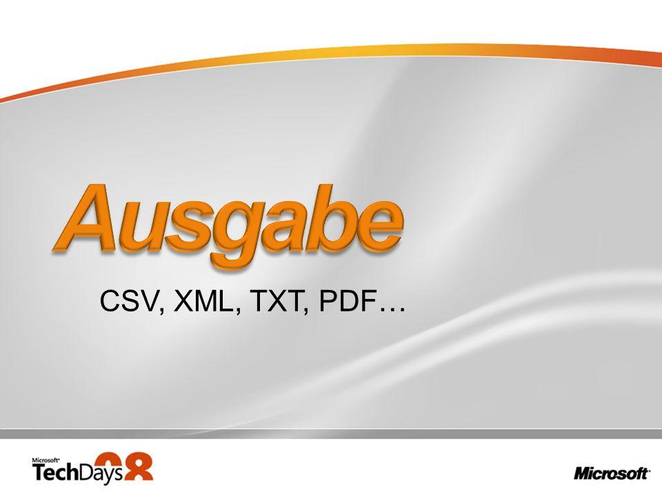 CSV, XML, TXT, PDF…