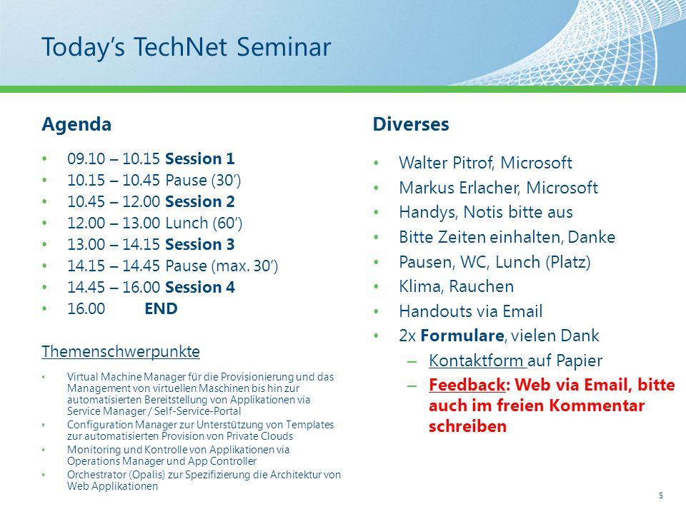 Todays TechNet Seminar AgendaDiverses Walter Pitrof, Microsoft Markus Erlacher, Microsoft Handys, Notis bitte aus Bitte Zeiten einhalten, Danke Pausen, WC, Lunch (Platz) Klima, Rauchen Handouts via Email 2x Formulare, vielen Dank – Kontaktform auf Papier – Feedback: Web via Email, bitte auch im freien Kommentar schreiben 5 09.10 – 10.15 Session 1 10.15 – 10.45 Pause (30) 10.45 – 12.00 Session 2 12.00 – 13.00 Lunch (60) 13.00 – 14.15 Session 3 14.15 – 14.45 Pause (max.