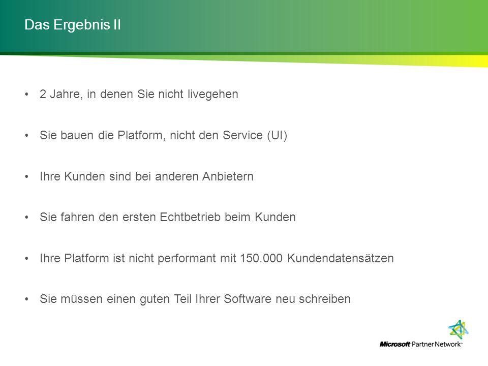 Das Ergebnis II 2 Jahre, in denen Sie nicht livegehen Sie bauen die Platform, nicht den Service (UI) Ihre Kunden sind bei anderen Anbietern Sie fahren