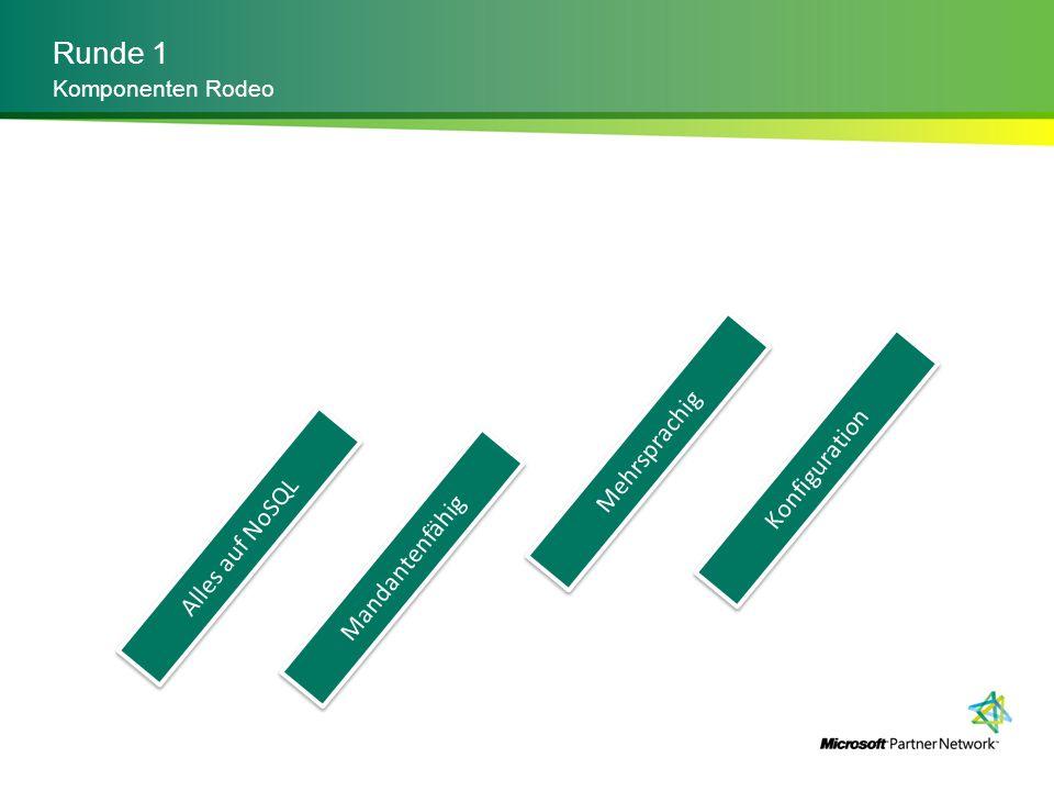 Runde 2 Detaillierung Alles auf NoSQL Mandantenfähig Mehrsprachig Konfiguration Wir brauchen AutoScaling Aber mit Custom Code Endpunkte pro Kunde Single Instance Auch das Datenmodell Billing Engine Wir integrieren mit SAP