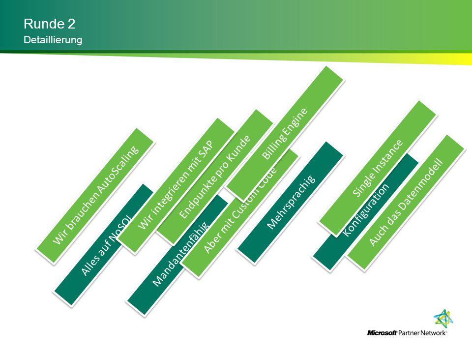 Runde 2 Detaillierung Alles auf NoSQL Mandantenfähig Mehrsprachig Konfiguration Wir brauchen AutoScaling Aber mit Custom Code Endpunkte pro Kunde Sing