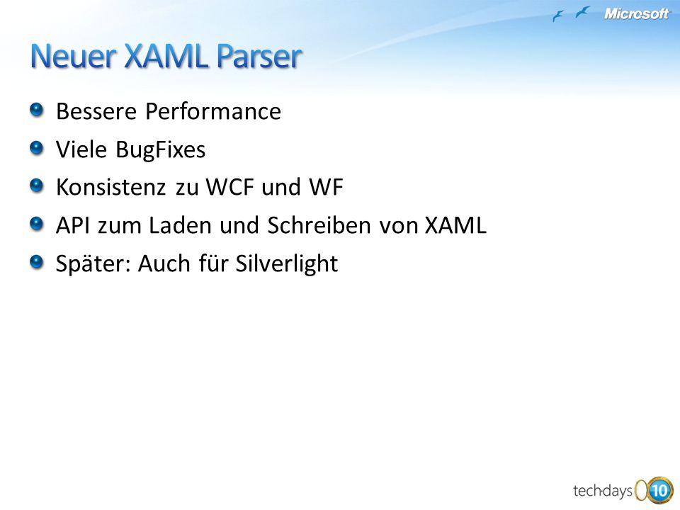 Bessere Performance Viele BugFixes Konsistenz zu WCF und WF API zum Laden und Schreiben von XAML Später: Auch für Silverlight