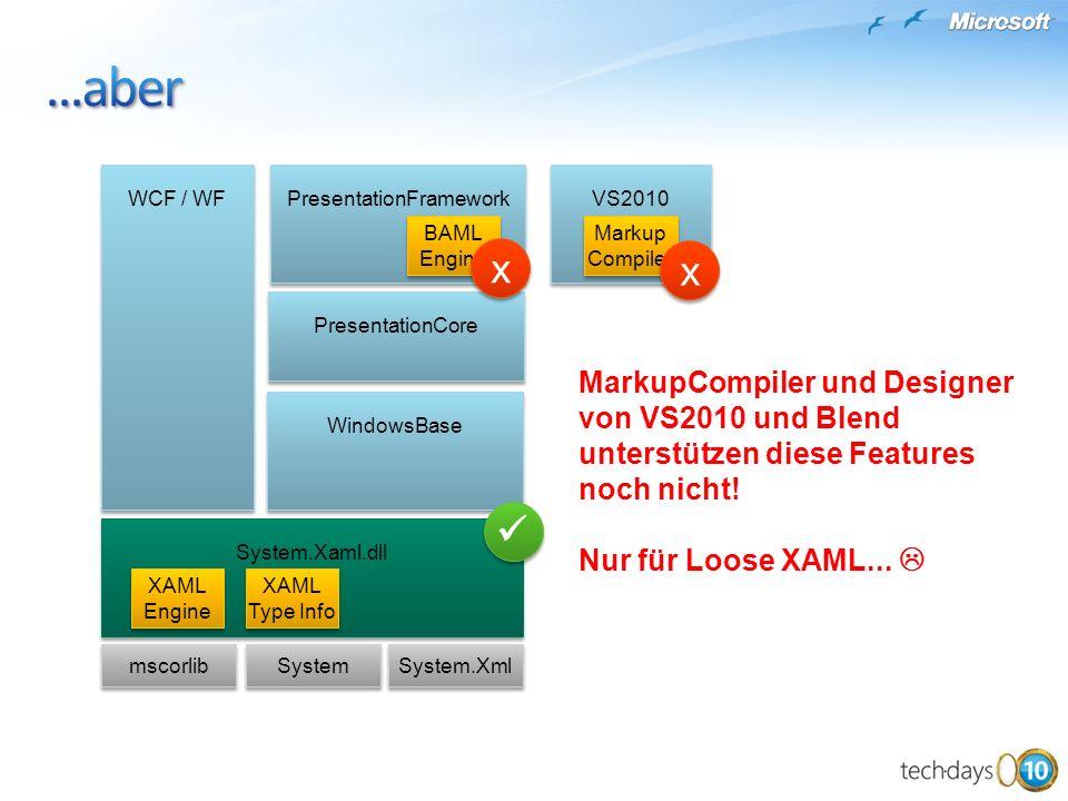 mscorlib System System.Xml WindowsBase PresentationCore PresentationFramework WCF / WF BAML Engine BAML Engine System.Xaml.dll XAML Type Info XAML Eng