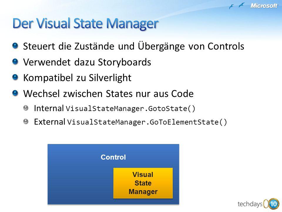Steuert die Zustände und Übergänge von Controls Verwendet dazu Storyboards Kompatibel zu Silverlight Wechsel zwischen States nur aus Code Internal Vis