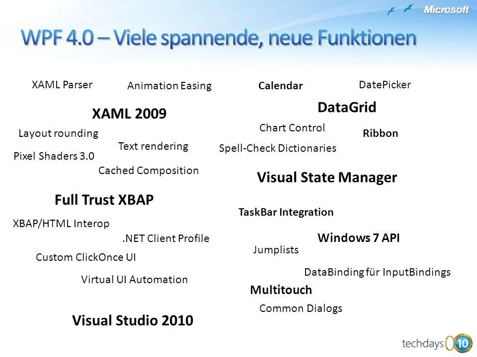 Windows 7 API Full Trust XBAP XBAP/HTML Interop.NET Client Profile Custom ClickOnce UI Layout rounding XAML 2009 XAML Parser Text rendering DataGrid V
