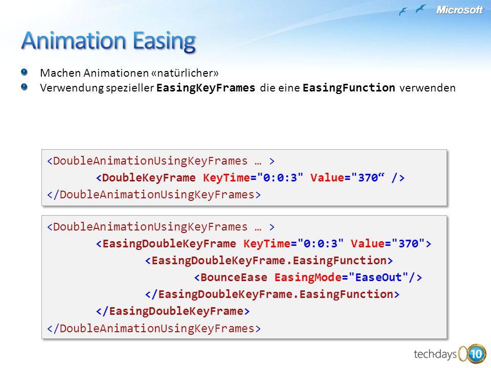 Machen Animationen «natürlicher» Verwendung spezieller EasingKeyFrames die eine EasingFunction verwenden