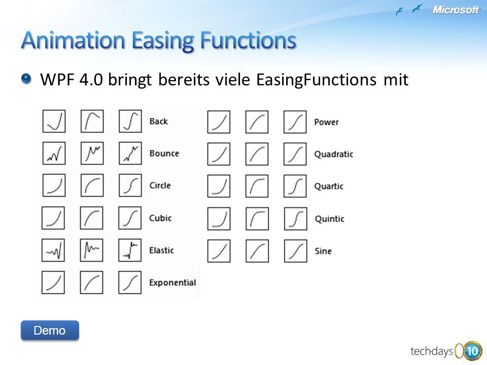 Demo WPF 4.0 bringt bereits viele EasingFunctions mit