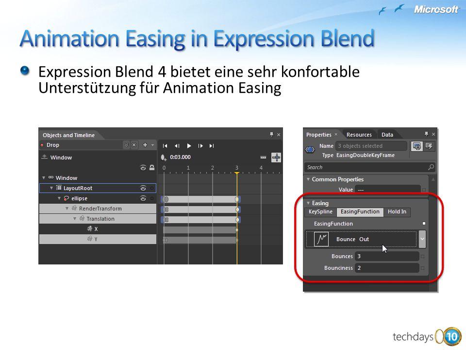 Expression Blend 4 bietet eine sehr konfortable Unterstützung für Animation Easing
