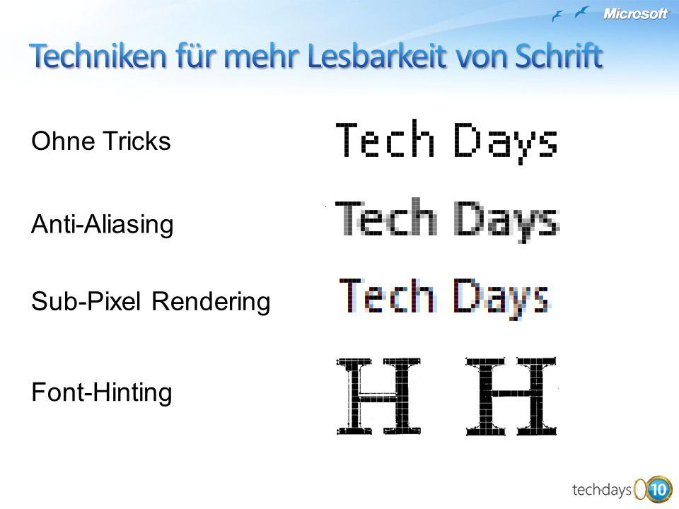 Ohne Tricks Anti-Aliasing Sub-Pixel Rendering Font-Hinting