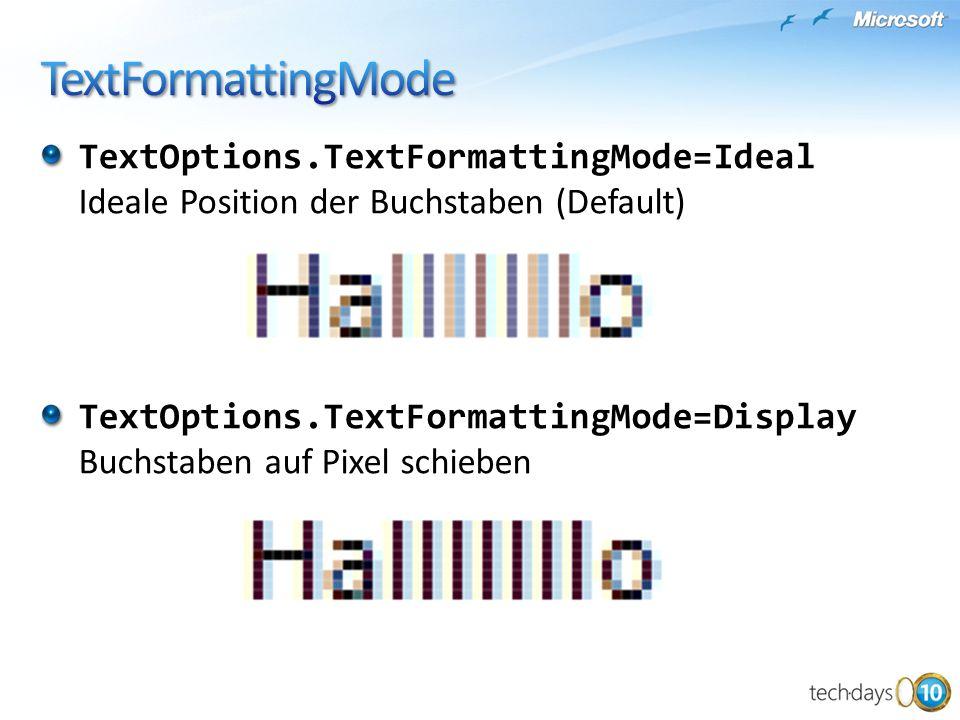 TextOptions.TextFormattingMode=Ideal Ideale Position der Buchstaben (Default) TextOptions.TextFormattingMode=Display Buchstaben auf Pixel schieben