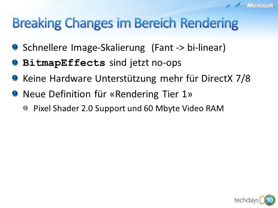 Schnellere Image-Skalierung (Fant -> bi-linear) BitmapEffects sind jetzt no-ops Keine Hardware Unterstützung mehr für DirectX 7/8 Neue Definition für