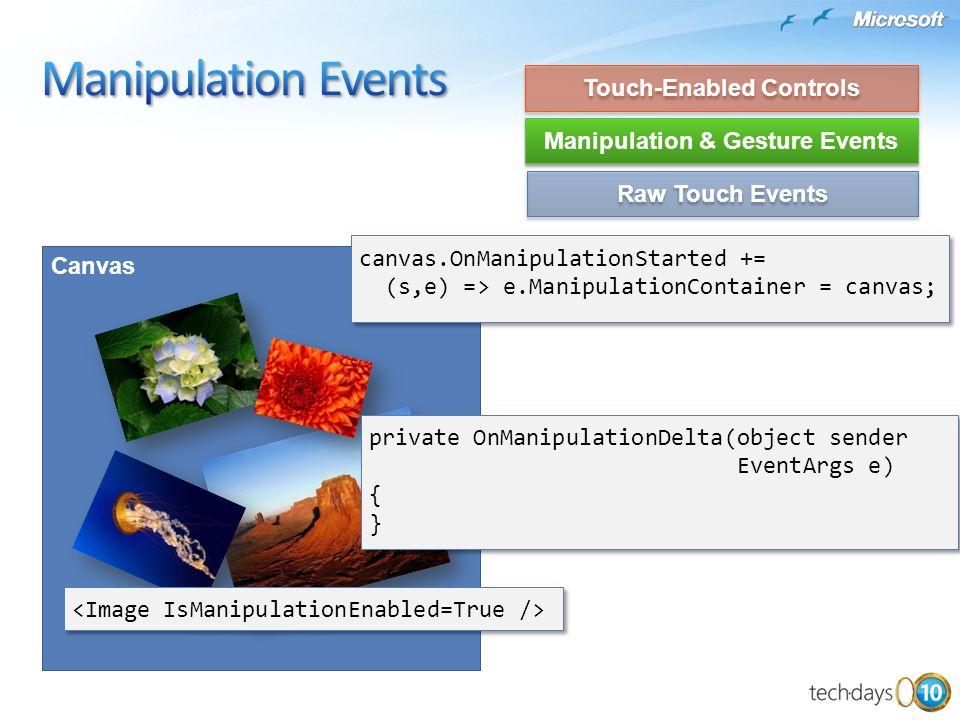 Canvas canvas.OnManipulationStarted += (s,e) => e.ManipulationContainer = canvas; private OnManipulationDelta(object sender EventArgs e) { } private O